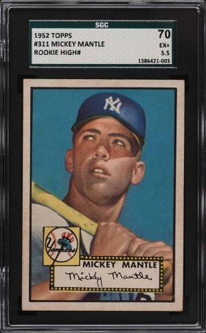 Image of: 1952 Topps Mickey Mantle #311 SGC 5.5 EX+ (PWCC-E)