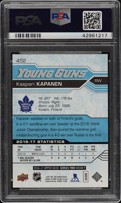 2016 Upper Deck Young Guns Kasperi Kapanen ROOKIE RC #452 PSA 10 GEM MINT (PWCC) - Image 2