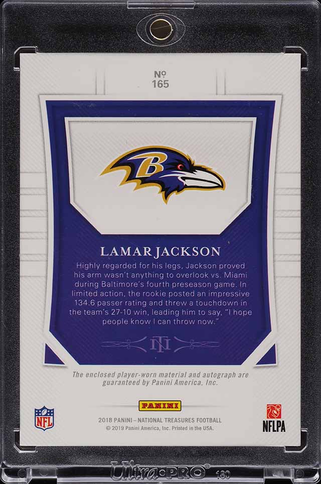 2018 National Treasures Holo Gold Lamar Jackson ROOKIE RC PATCH AUTO /10 (PWCC) - Image 2