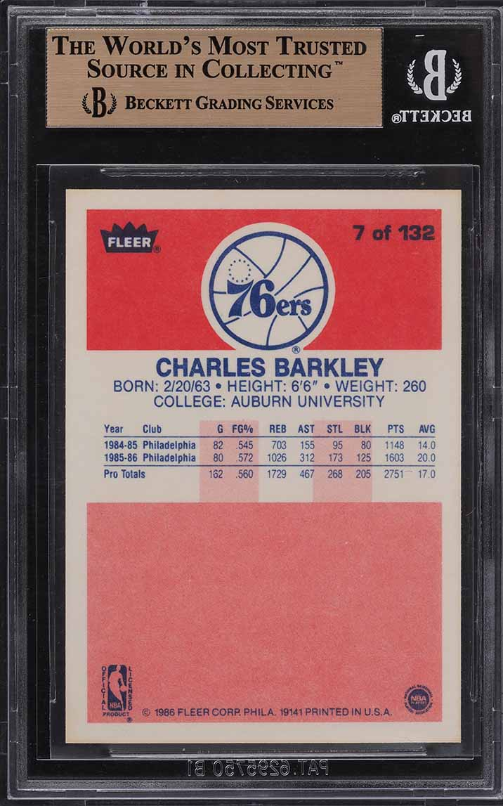 1986 Fleer Basketball Charles Barkley ROOKIE RC #7 BGS 9.5 GEM MINT (PWCC) - Image 2