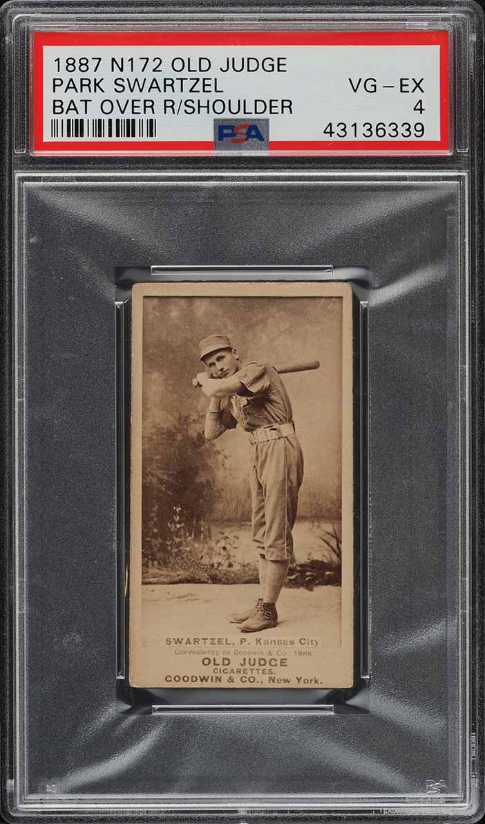 1887 N172 Old Judge Park Swartzel BAT OVER RIGHT SHOULDER PSA 4 VGEX (PWCC-A) - Image 1