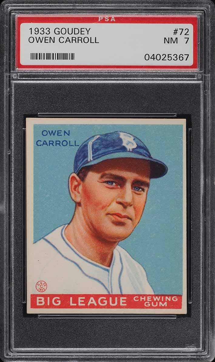 1933 Goudey Owen Carroll #72 PSA 7 NRMT (PWCC) - Image 1