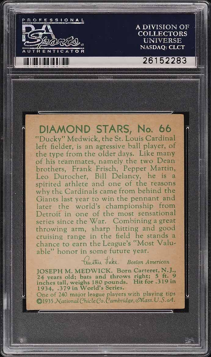 1935 Diamond Stars Ducky Medwick #66 PSA 5.5 EX+ - Image 2