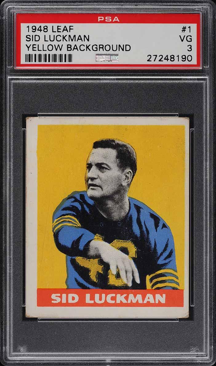 1948 Leaf Football Sid Luckman ROOKIE RC #1 PSA 3 VG (PWCC) - Image 1