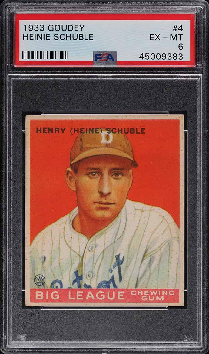 1933 Goudey Heinie Schuble #4 PSA 6 EXMT (PWCC-E) - Image 1