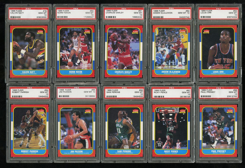 1986 Fleer Basketball COMPLETE PSA 10 SET Johnny Moore Michael Jordan RC (PWCC) - Image 10