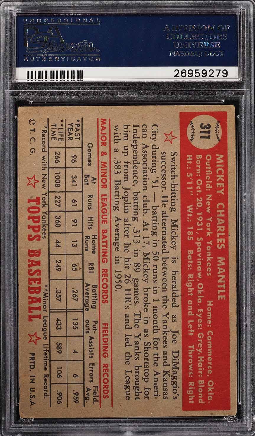 1952 Topps Mickey Mantle #311 PSA 3.5 VG+ (PWCC) - Image 2