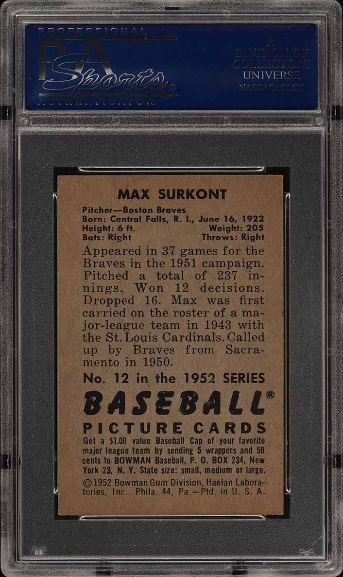 1952 Bowman SETBREAK Max Surkont #12 PSA 7 NRMT (PWCC) - Image 2