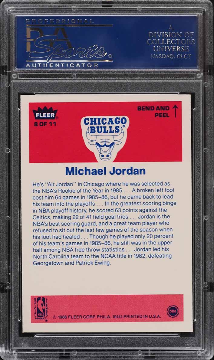 1986 Fleer Sticker Michael Jordan ROOKIE RC #8 PSA 9 MINT - Image 2