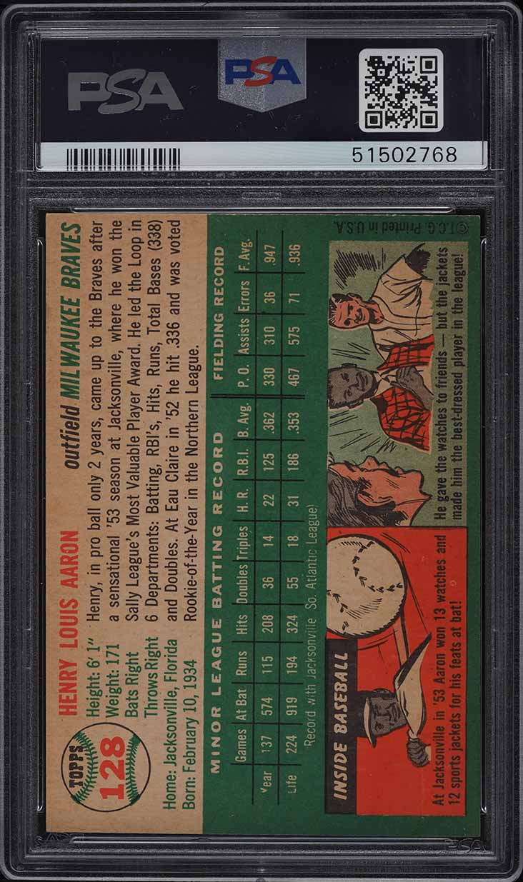 1954 Topps Hank Aaron ROOKIE RC #128 PSA 7 NRMT - Image 2