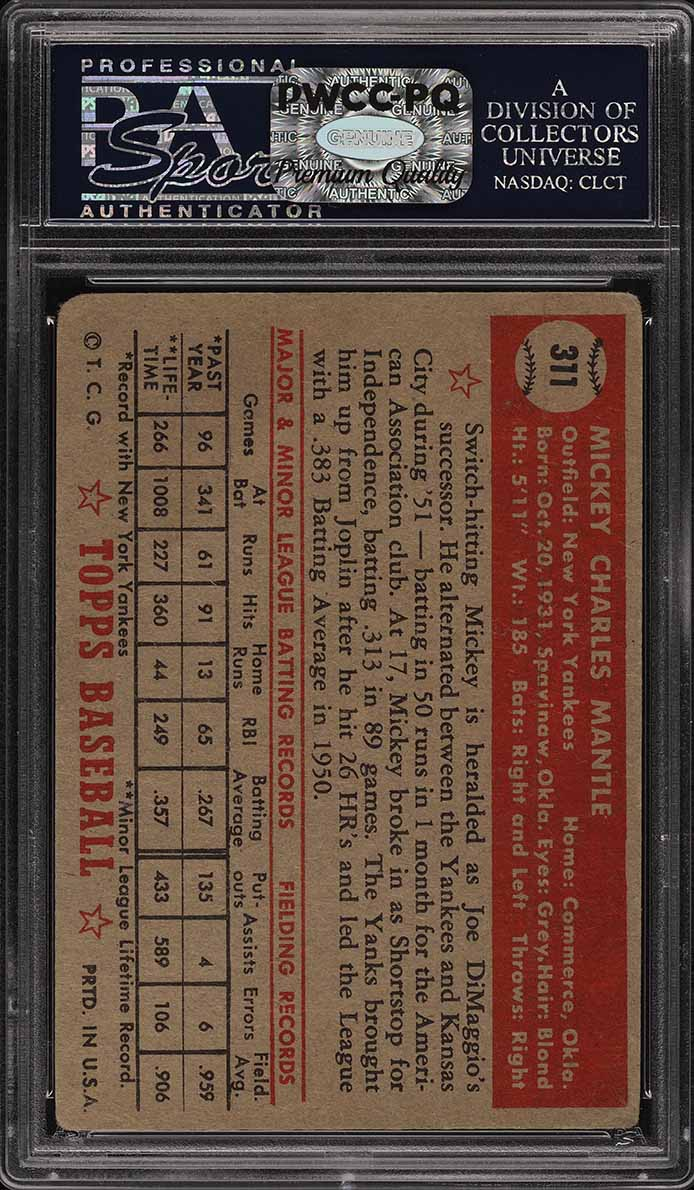 1952 Topps Mickey Mantle #311 PSA 2 GD (PWCC-PQ) - Image 2