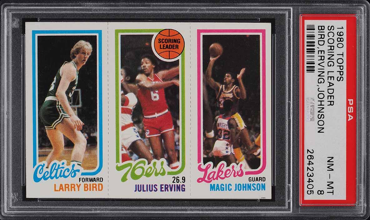 1980 Topps Basketball Larry Bird & Magic Johnson ROOKIE RC PSA 8 NM-MT (PWCC-A) - Image 1