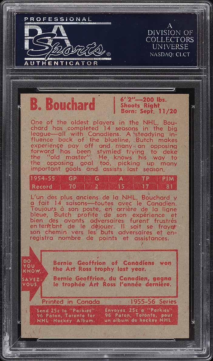 1955 Parkhurst Butch Bouchard #46 PSA 7 NRMT - Image 2