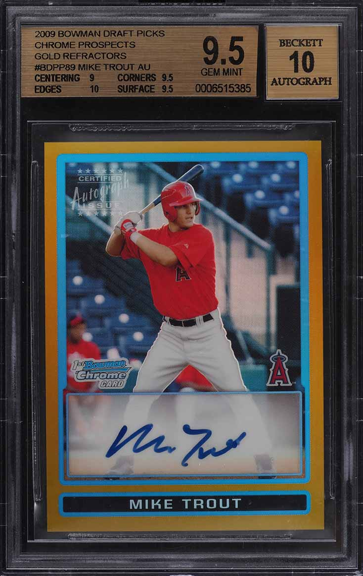2009 Bowman Chrome Gold Refractor Mike Trout ROOKIE RC AUTO /50 BGS 9.5 (PWCC) - Image 1