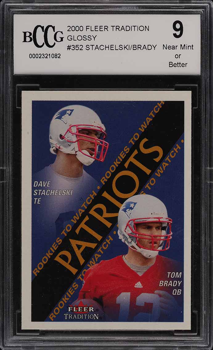 2000 Fleer Tradition Glossy Dave Stachelski & Tom Brady ROOKIE RC #352 BCCG 9 - Image 1