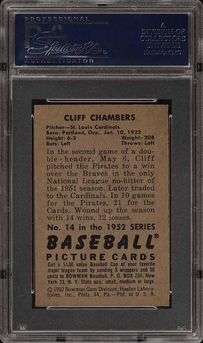 1952 Bowman SETBREAK Cliff Chambers #14 PSA 8 NM-MT (PWCC) - Image 2