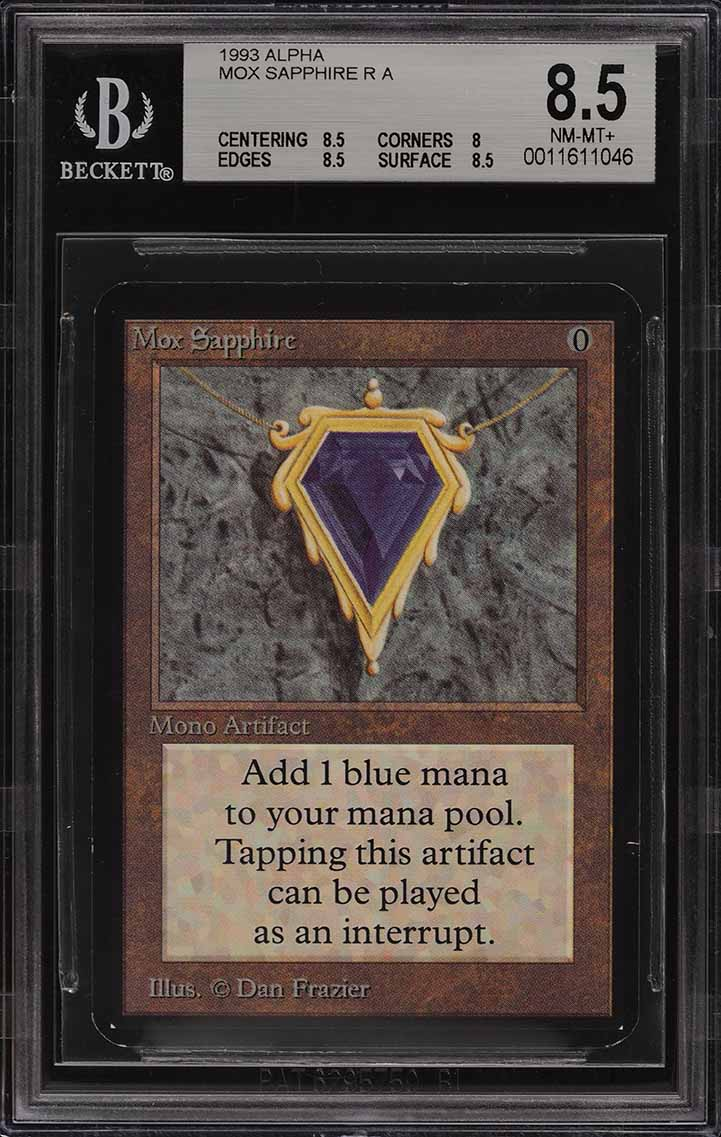 1993 Magic The Gathering MTG Alpha Mox Sapphire R A BGS 8.5 NM-MT+ (PWCC) - Image 1