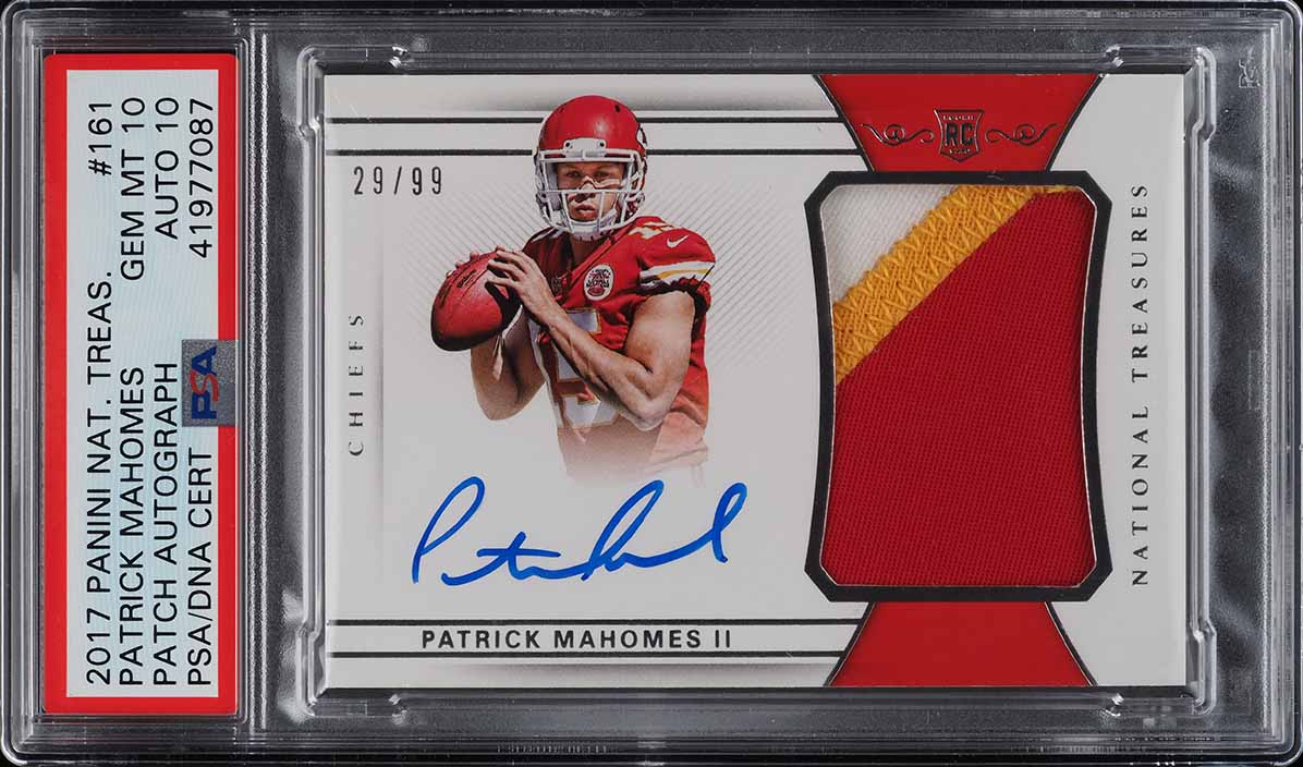 2017 National Treasures Patrick Mahomes ROOKIE RC PATCH AUTO /99 PSA 10 (PWCC) - Image 1