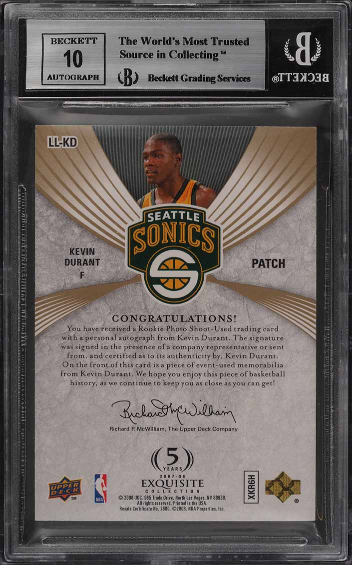 2007 Exquisite Collection Limited Kevin Durant RC AUTO PATCH /50 BGS 9 (PWCC) - Image 2
