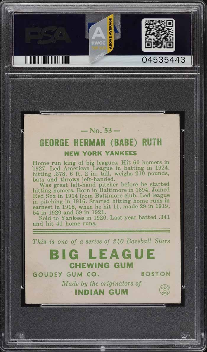 1933 Goudey Babe Ruth #53 PSA 5 EX (PWCC-A) - Image 2