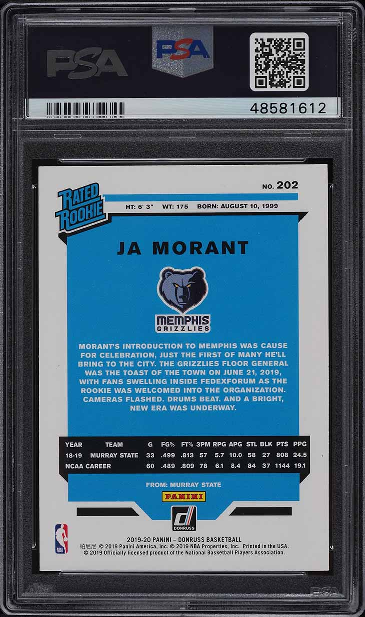 2019 Donruss Basketball Ja Morant ROOKIE RC #202 PSA 10 GEM MINT - Image 2