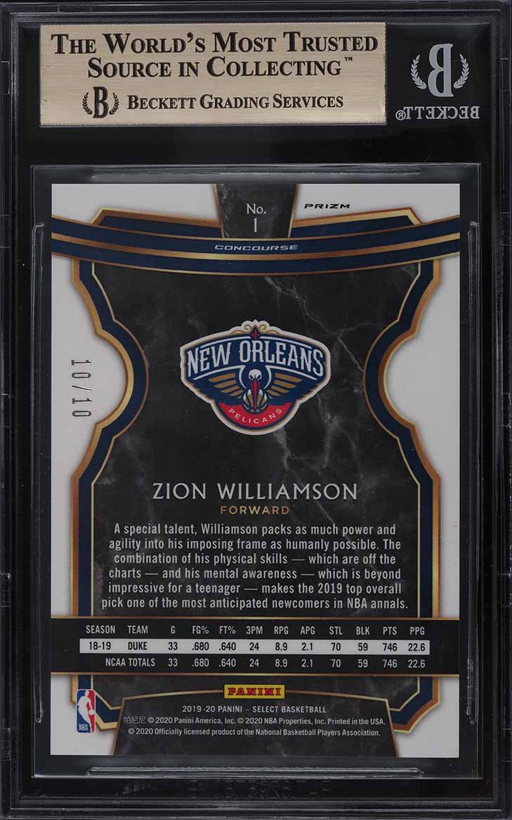 2019 Select Disco Gold Prizms Zion Williamson ROOKIE RC 10/10 #1 BGS 9.5 GEM MT - Image 2
