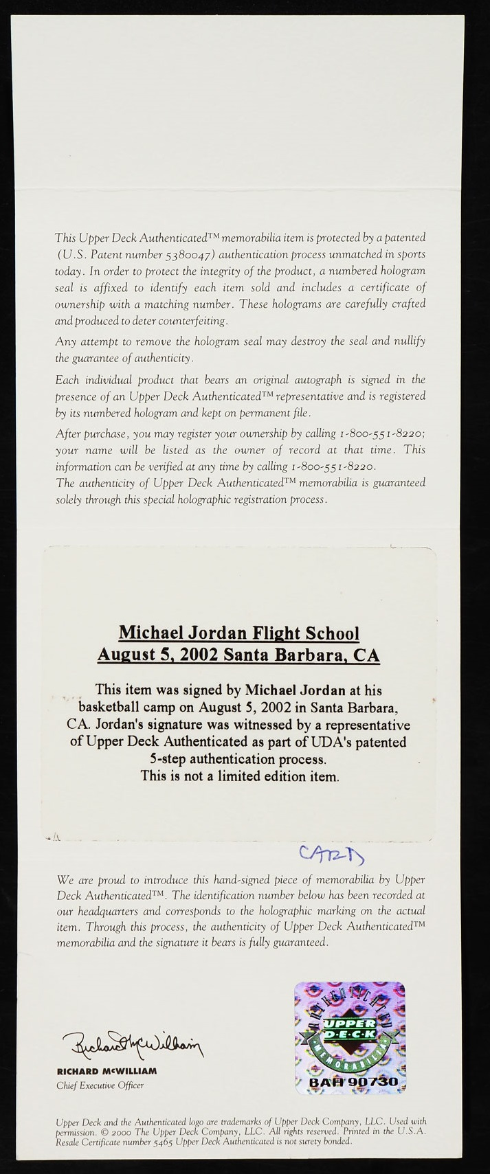 1997-98 Upper Deck Game Jersey Michael Jordan AUTO PATCH #GJ13, UDA COA - Image 3