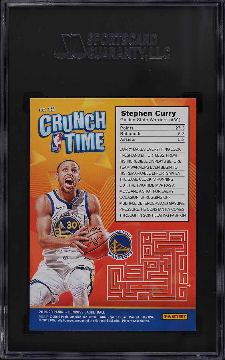 2019 Donruss Crunch Time Stephen Curry #12 SGC 9.5 MINT+ - Image 2