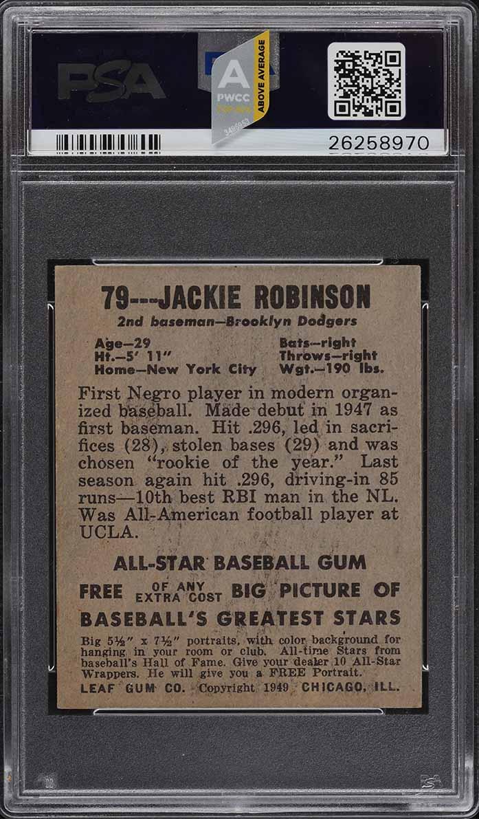 1948 Leaf Jackie Robinson ROOKIE RC #79 PSA 7 NRMT (PWCC-A) - Image 2