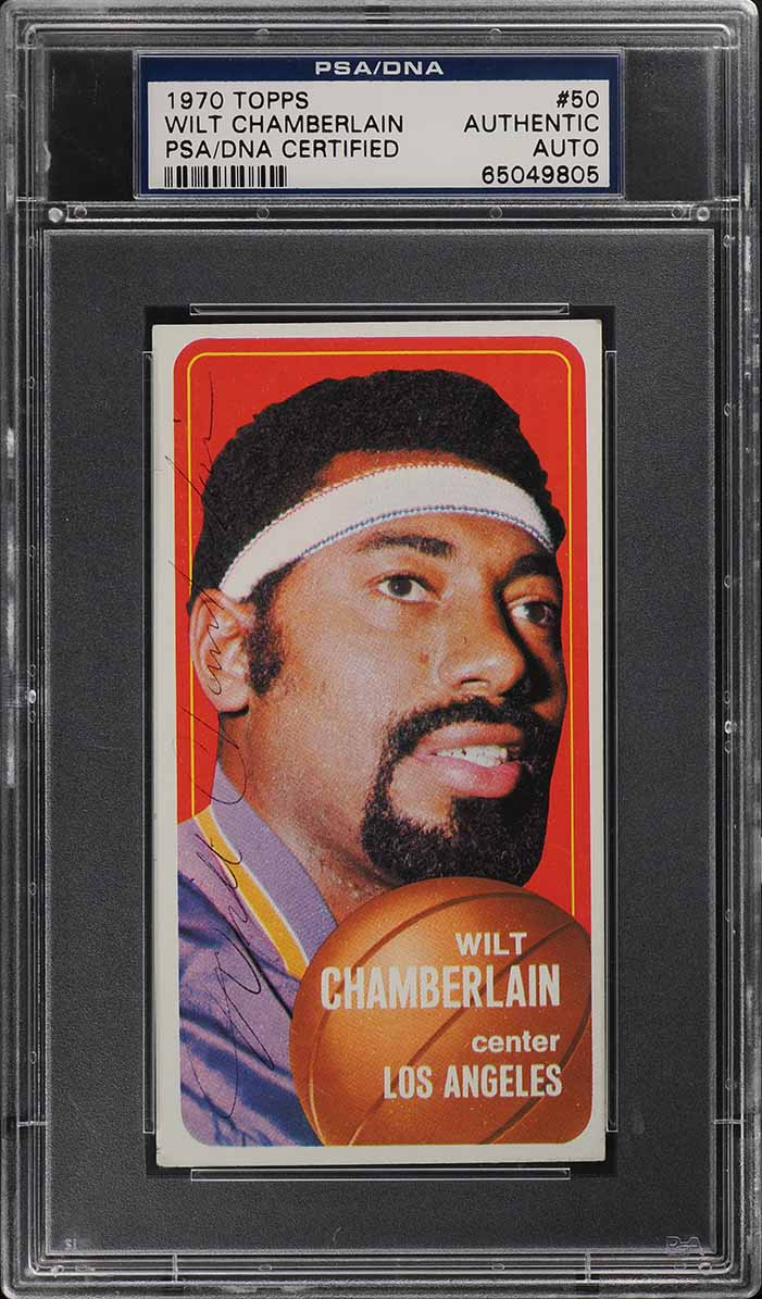 1970 Topps Basketball Wilt Chamberlain SIGNED AUTO #50 PSA/DNA Auth (PWCC) - Image 1