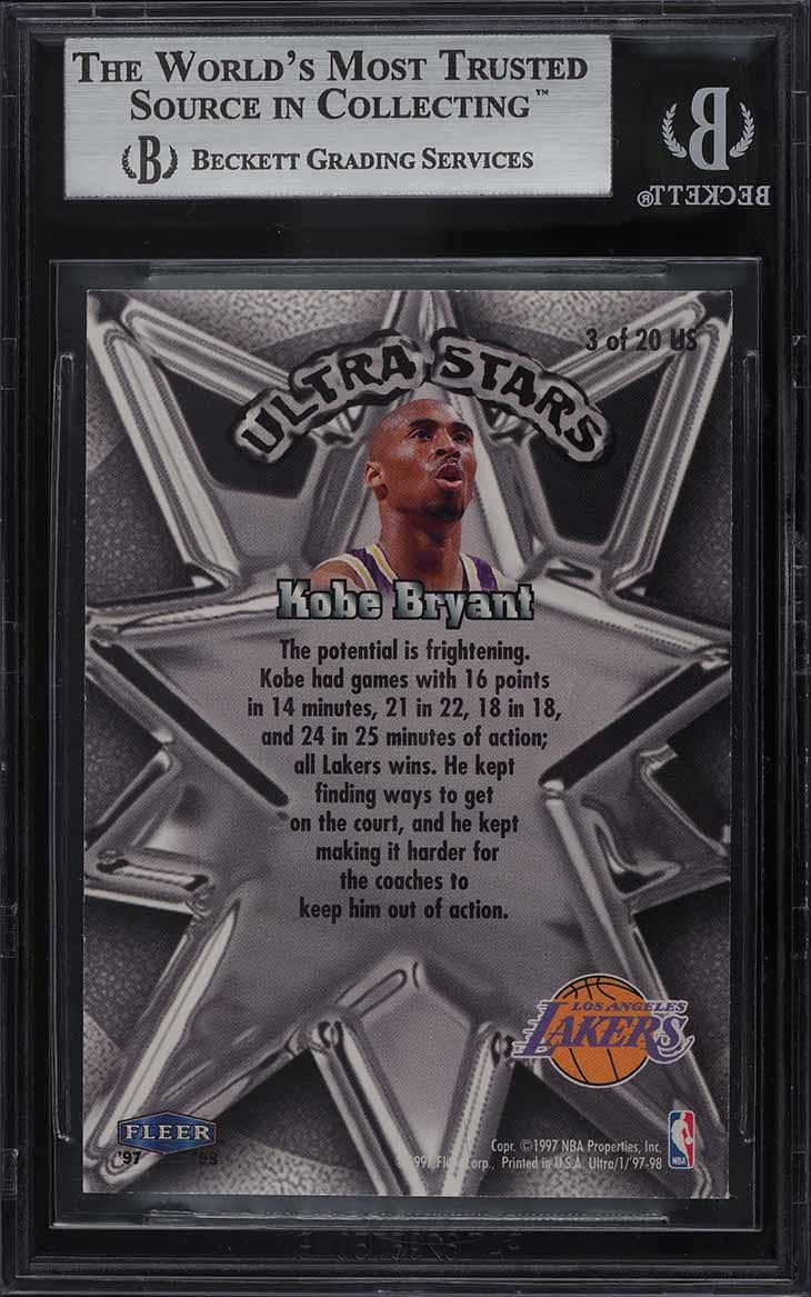 1997 Ultra Stars Gold Kobe Bryant #3 BGS 9 MINT - Image 2