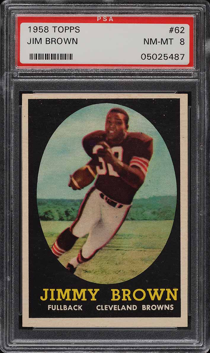 1958 Topps Football Jim Brown ROOKIE RC #62 PSA 8 NM-MT - Image 1