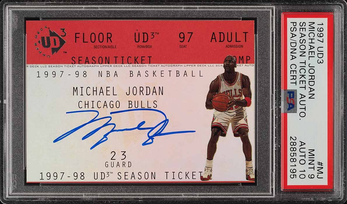 1997 UD3 Season Ticket Michael Jordan PSA/DNA 10 AUTO #MJ PSA 9 MINT (PWCC) - Image 1