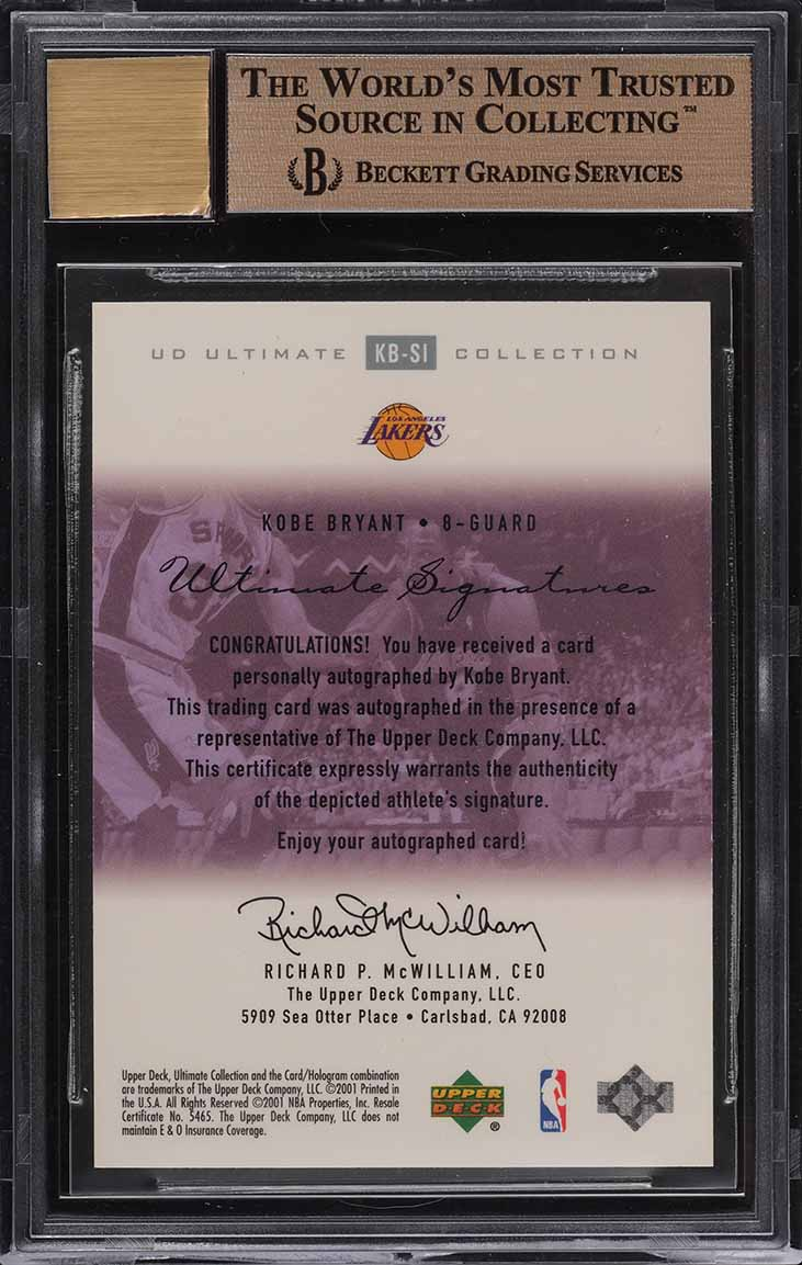 2000 Ultimate Collection Silver Kobe Bryant AUTO /75 #KBSI BGS 9.5 GEM MINT - Image 2