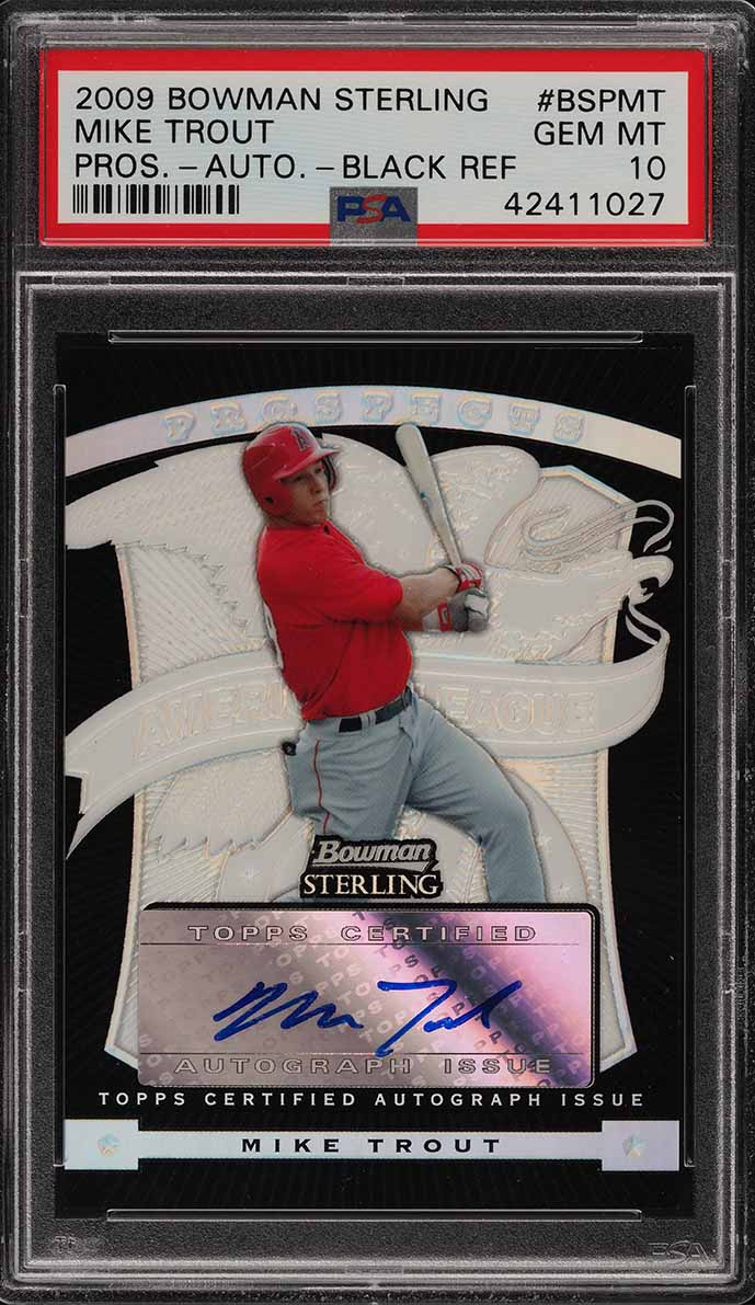 2009 Bowman Sterling Black Refractor Mike Trout ROOKIE RC AUTO /25 PSA 10 (PWCC) - Image 1
