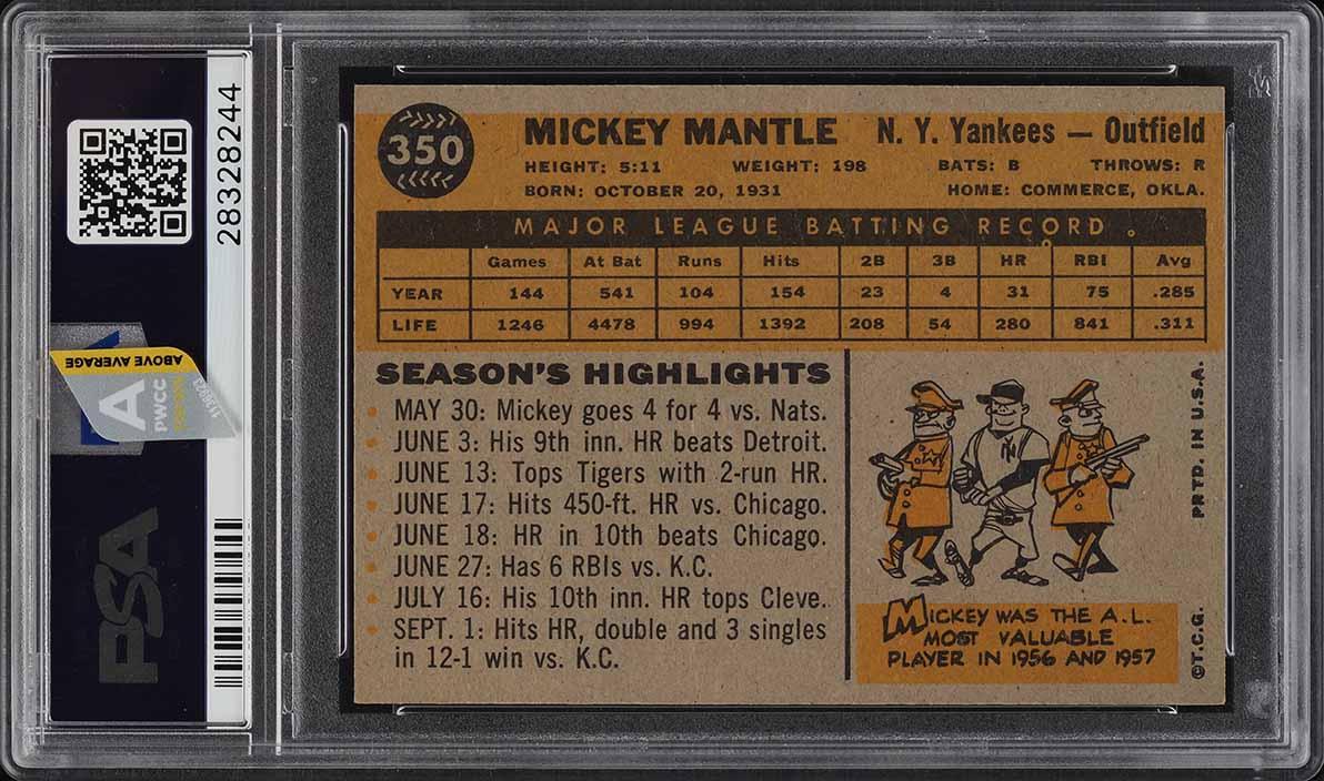 1960 Topps Mickey Mantle #350 PSA 7 NRMT (PWCC-A) - Image 2