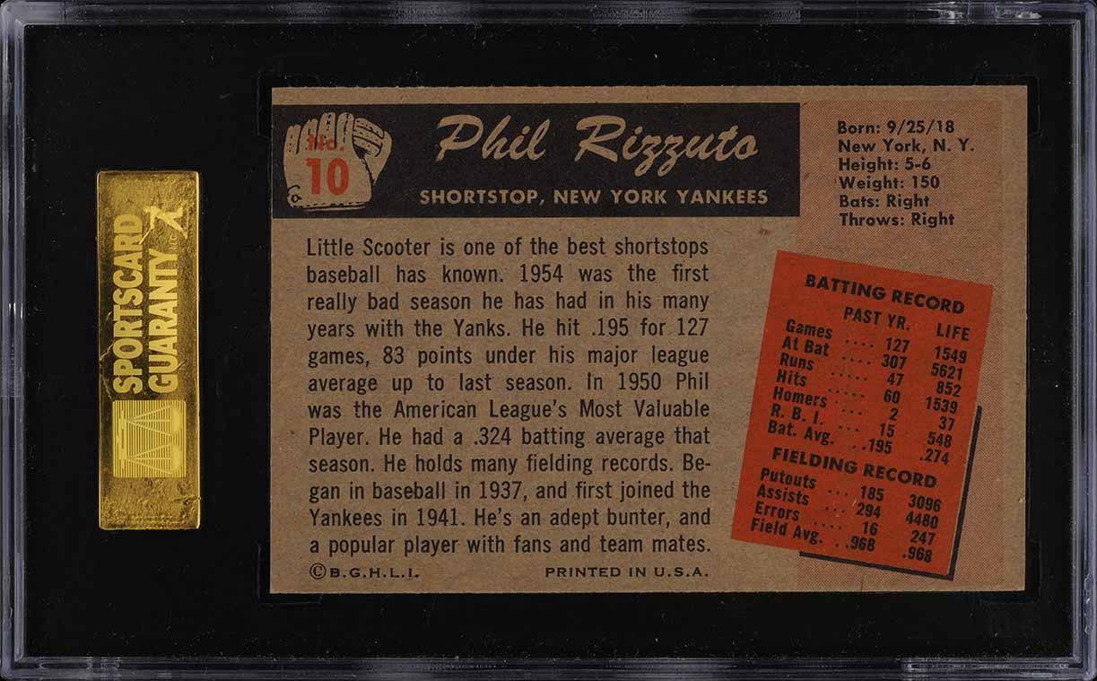 1955 Bowman Phil Rizzuto #10 SGC 8.5 NM-MT+ (PWCC) - Image 2