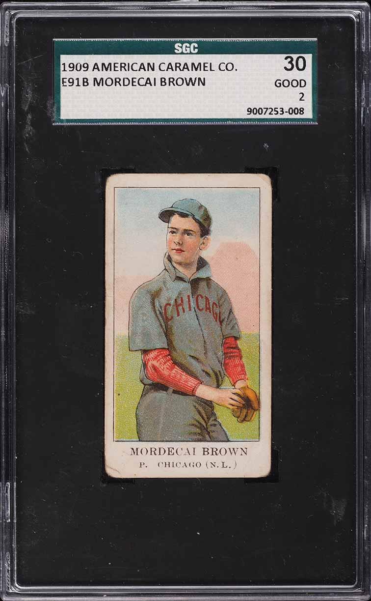 1909 E91-B American Caramel Mordecai Brown SGC 2 GD - Image 1