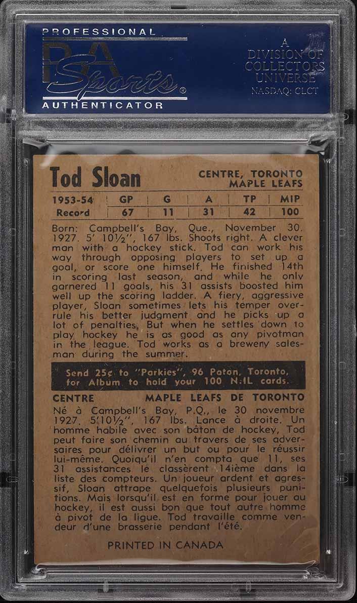 1954 Parkhurst Tod Sloan #30 PSA 8 NM-MT - Image 2