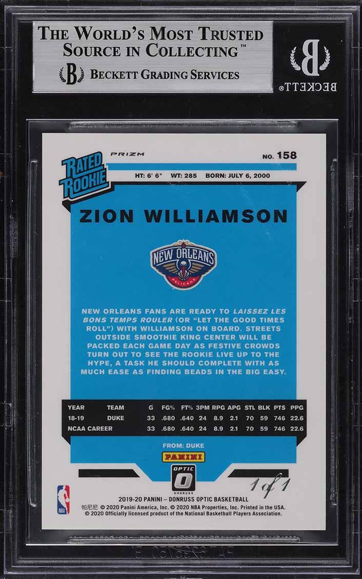 2019 Donruss Optic Gold Vinyl Zion Williamson ROOKIE RC 1/1 #158 BGS 9 MT (PWCC) - Image 2
