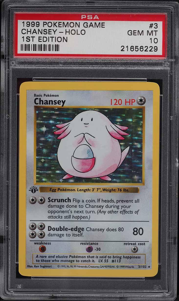 1999 Pokemon Base Set 1st Edition Shadowless Holo Chansey #3 PSA 10 GEM MINT - Image 1