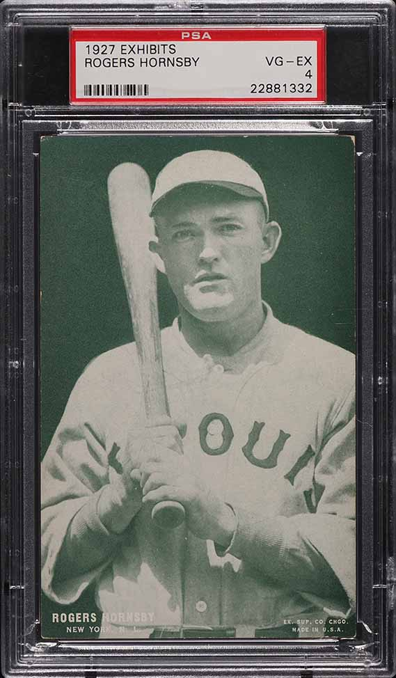 1927 Exhibits Rogers Hornsby GREEN TINT PSA 4 VGEX - Image 1