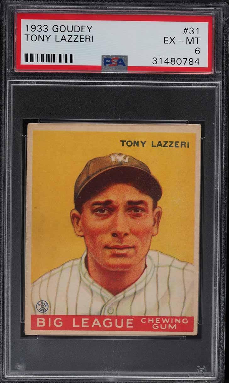 1933 Goudey Tony Lazzeri #31 PSA 6 EXMT - Image 1