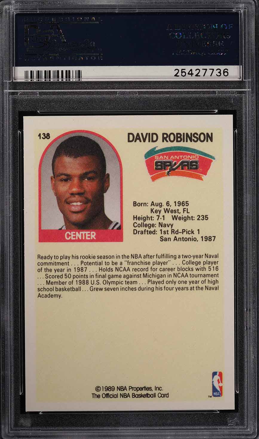 1989 Hoops David Robinson Sp Rookie Rc 138 Psa 10 Gem Mint