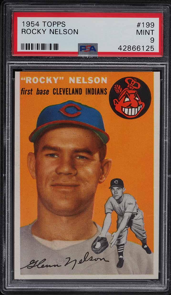 1954 Topps Rocky Nelson #199 PSA 9 MINT - Image 1