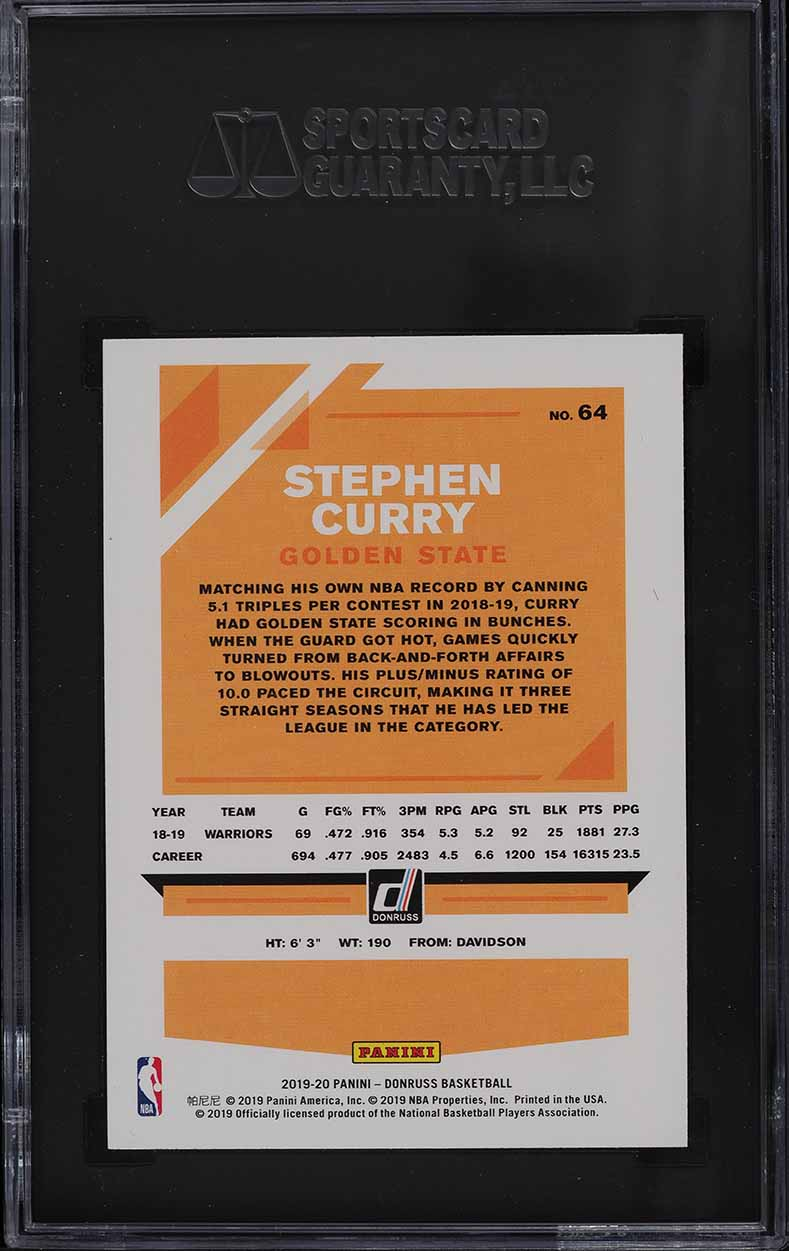 2019 Donruss Basketball Stephen Curry #64 SGC 9.5 MINT+ - Image 2
