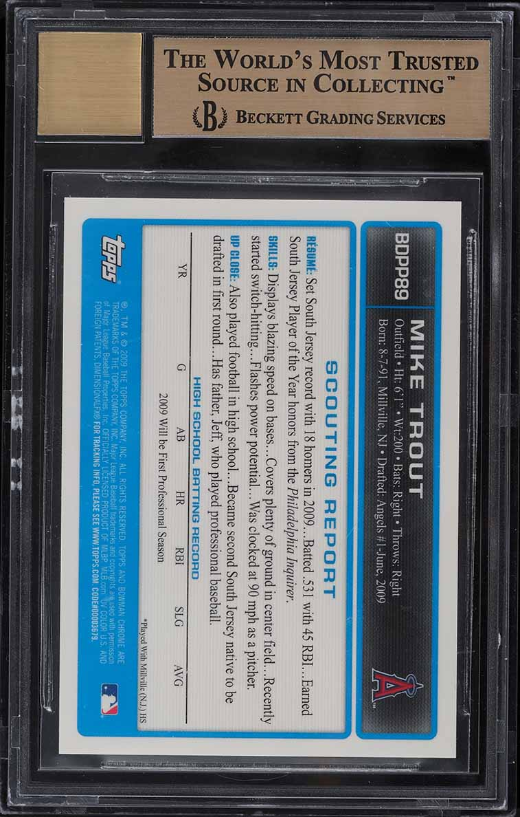 2009 Bowman Chrome Draft Mike Trout ROOKIE RC AUTO #BDPP89 BGS 9.5 GEM MT (PWCC) - Image 2