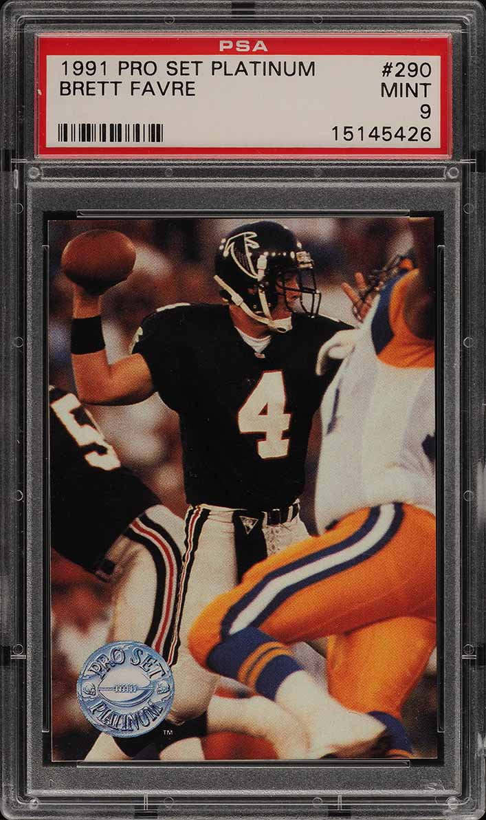 1991 Pro Set Platinum Brett Favre ROOKIE RC #290 PSA 9 MINT (PWCC) - Image 1