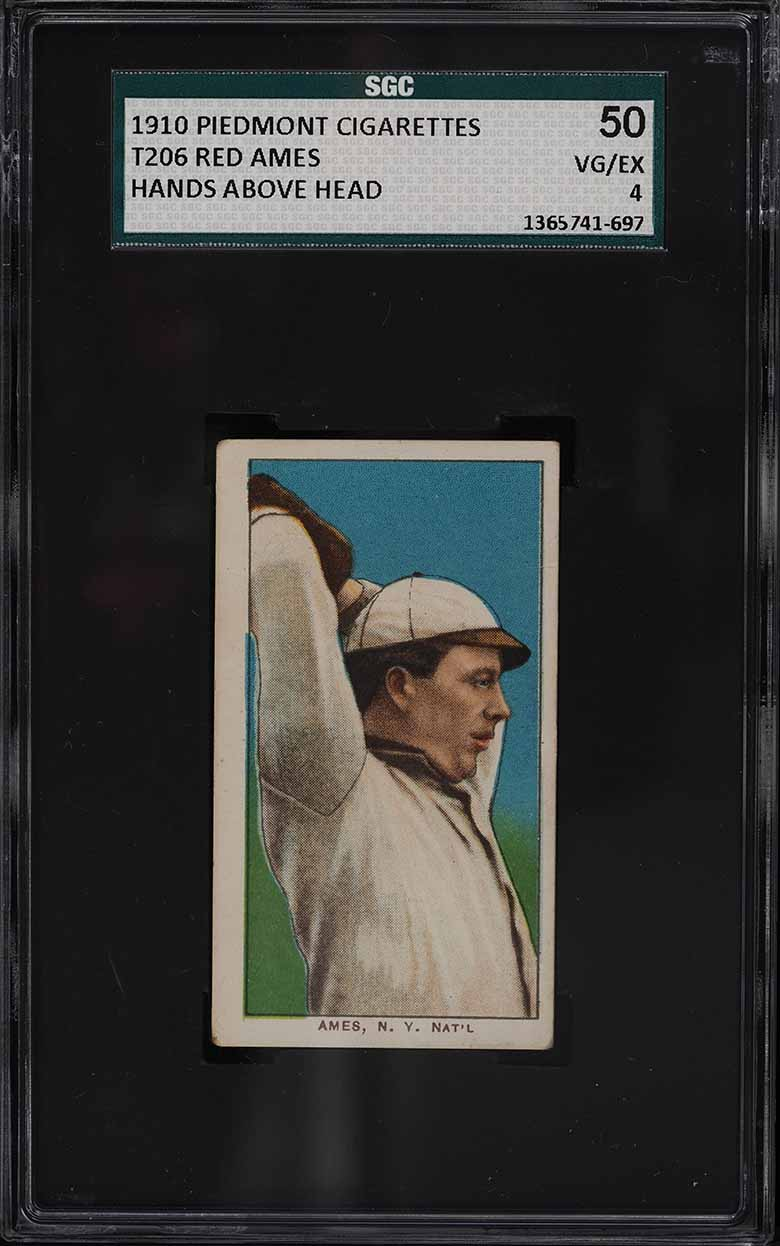1909-11 T206 Red Ames HANDS ABOVE HEAD SGC 4 VGEX - Image 1