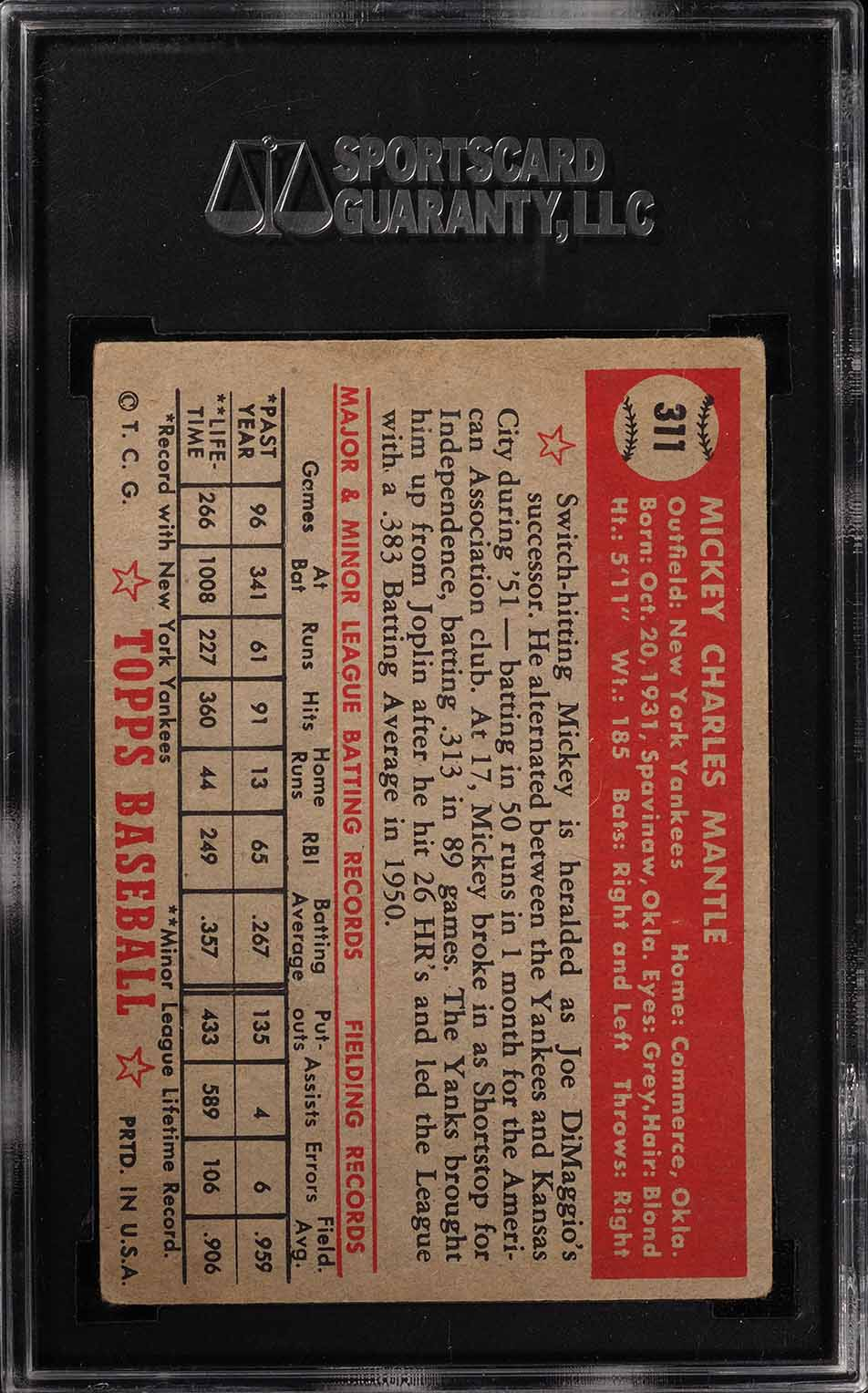 1952 Topps Mickey Mantle #311 SGC 2.5 GD+ (PWCC) - Image 2